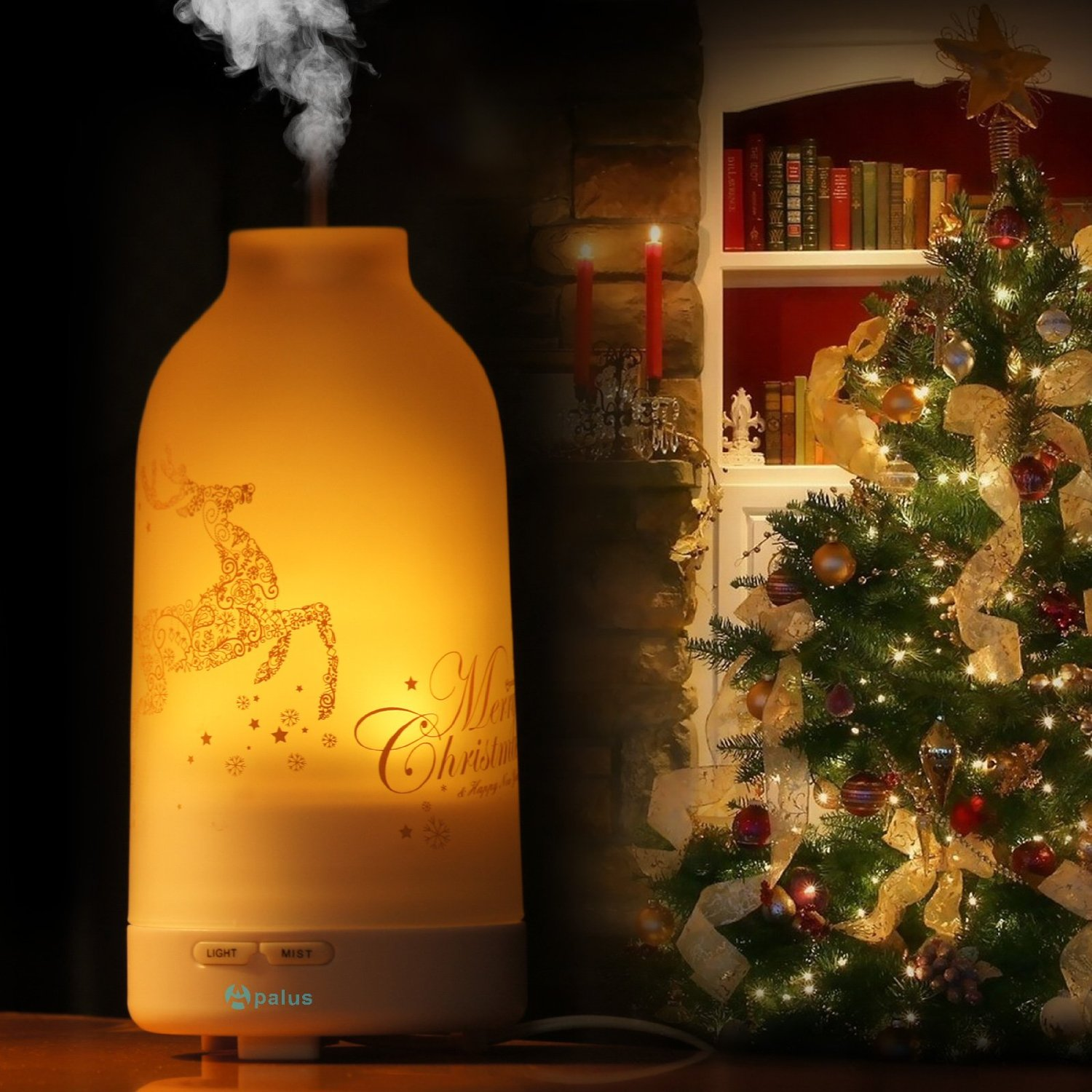 Apalus 100 ML Glass Essential Oil Diffuser, Ultrasonic Aromatherapy Diffuser, Christmas Version