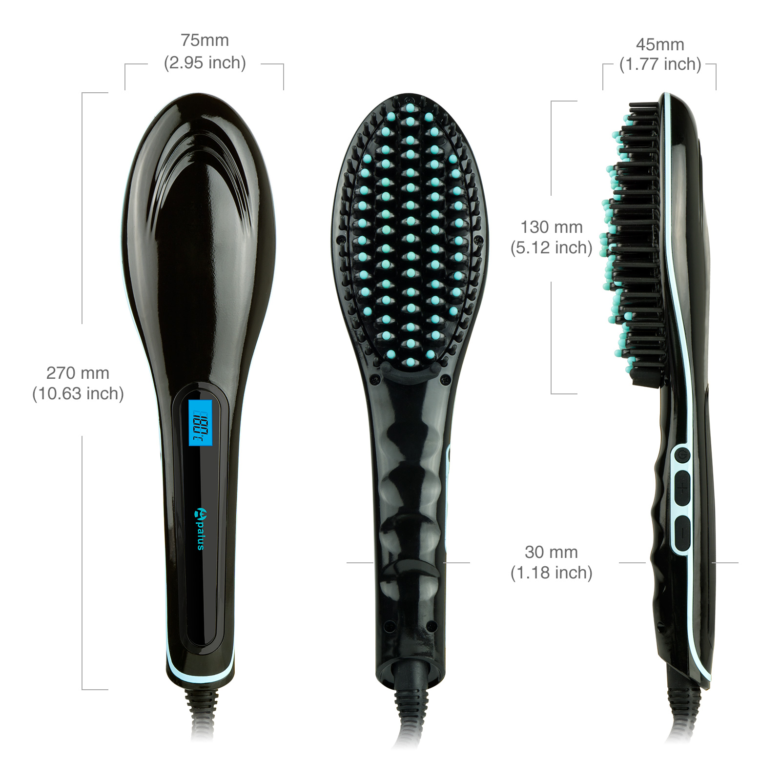 Apalus Hair Straightening Brush Black