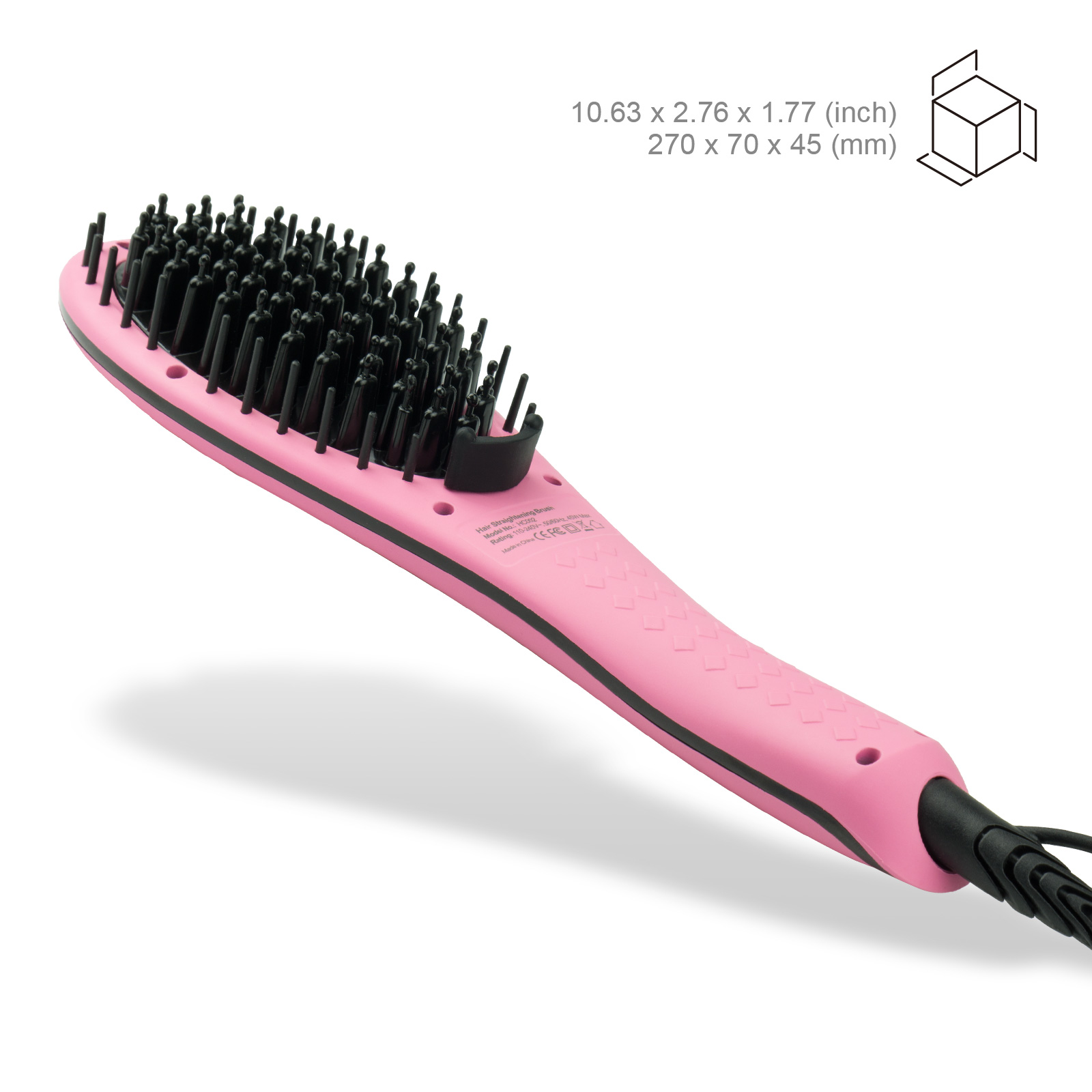 Apalus Ceramic Hair Straightening Brush Pink
