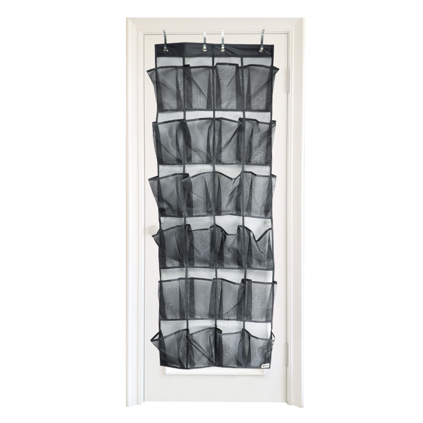 Apalus Over the Door Shoe Organizer, Door-mounted storage, Sneakers, Sandals Rack with Mesh Pockets for Easy storage with 4 Adjustable Door Hooks, Fits most door types/sizes (24 Pockets)