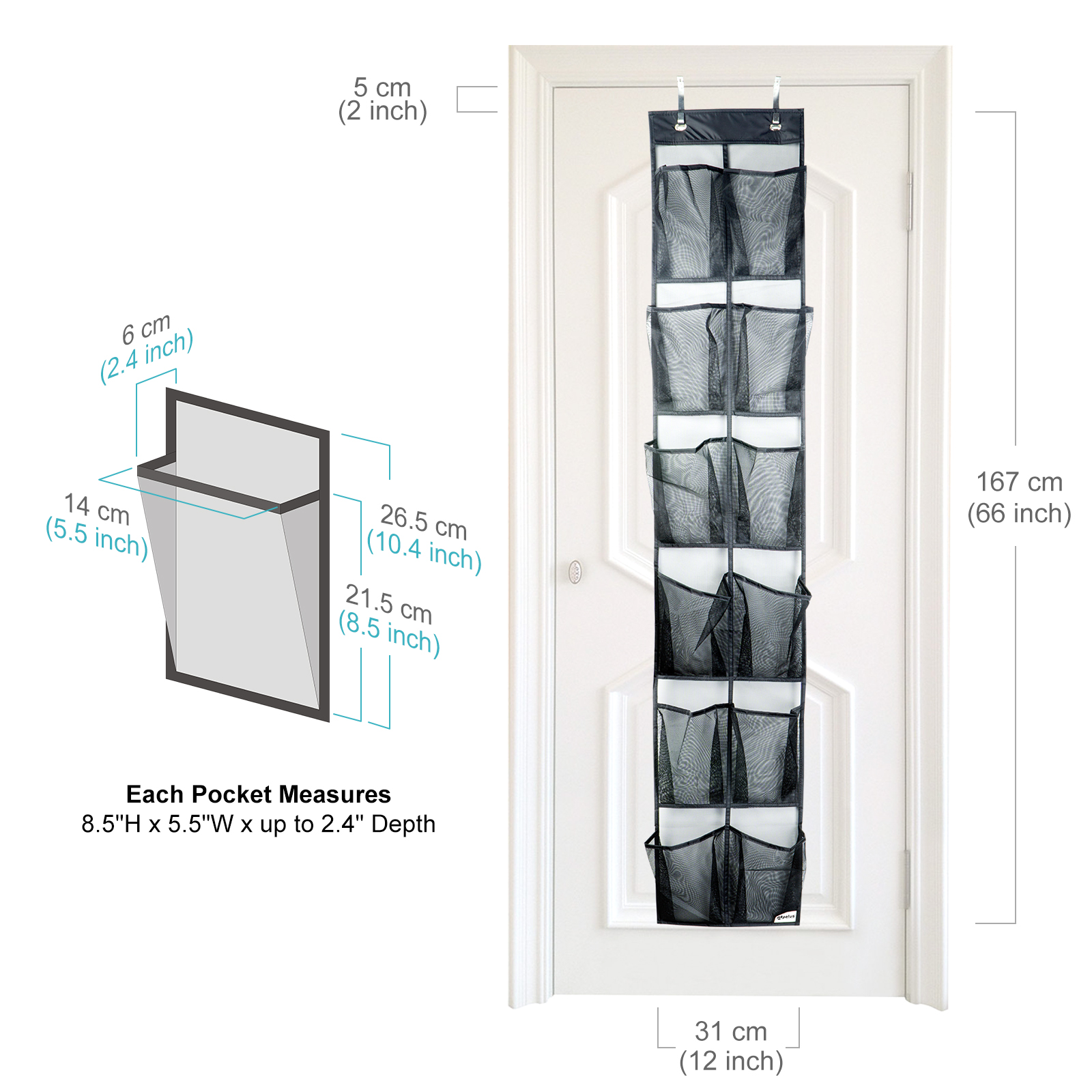 Apalus Over The Door Shoe Organizer, Door-Mounted Storage, Sneakers, Sandals Rack with Mesh Pockets for Easy Storage with 2 Adjustable Door Hooks, Fits Most Door Types/Sizes (12 Pockets)