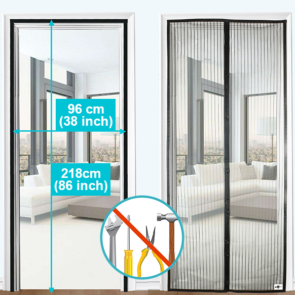 Apalus Magnetic Screen Door, Super Fine Mesh Fly Curtain, Magnetic Top-to-Bottom Seal Snaps Closes Automatically, Keep Fresh Air in & Bugs Out(100x220CM,Black)