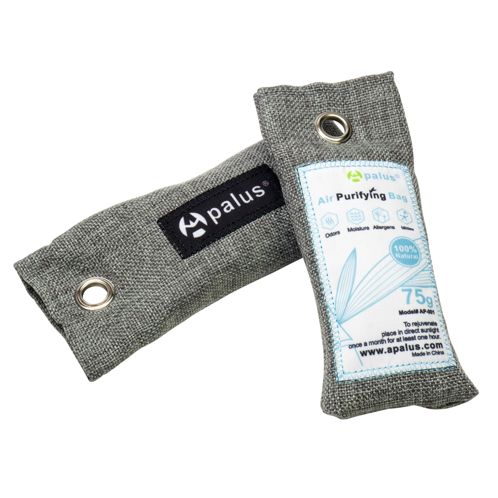 Apalus Mini Air Purifier Bags, Bamboo Activated Charcoal Air Freshener, Odor Eliminator For Shoes | Gym Bags |Closet -100% Natural & Chemical Free Moisture, Odor Absorber, Odor Neutralizer,75Gx2 Pack