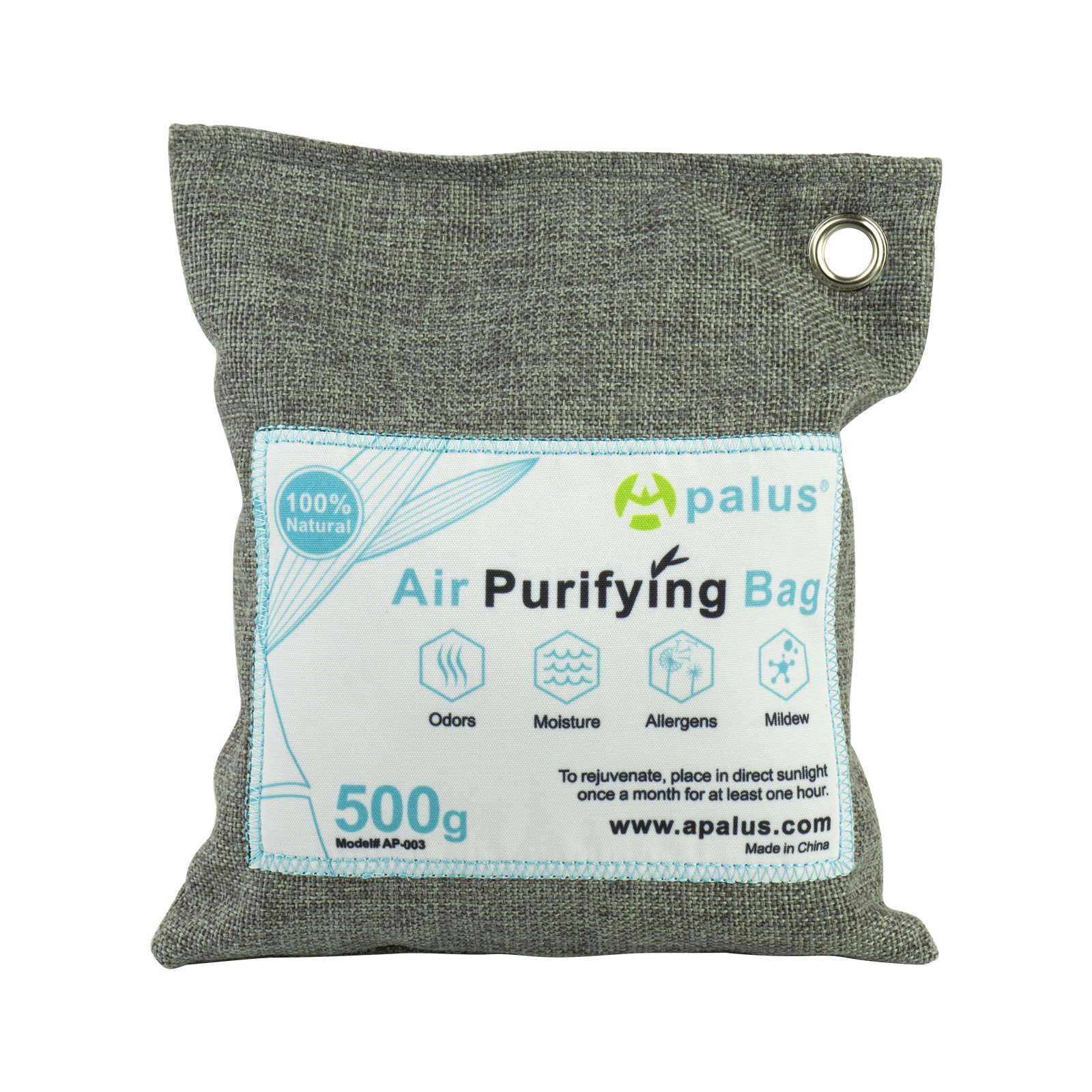 Apalus Air Purifying Bag, Bamboo Activated Charcoal Air Freshener, Car Air Dehumidifier, Deodorizer and Purifier Bags-100% Natural & Chemical Free Moisture, Odor Absorber, 500G
